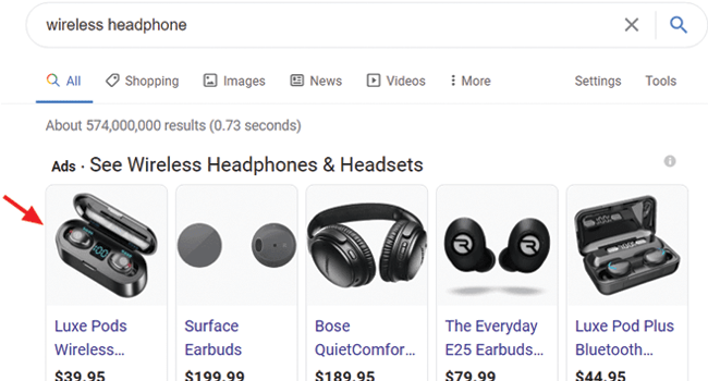 google shopping listing